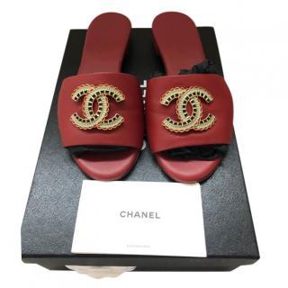 Chanel Red Leather Enamel CC Slides