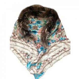 Fendi Printed Silk Fox Fur Trimmed Shawl