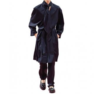 JW Anderson Navy Wool Single Breasted Runway Coat with Scarf