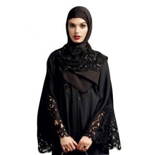 Dolce & Gabbana Black Lace Trimmed Crystal Embellished Headscarf