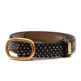 Alexander McQueen Snakeskin Skinny Belt with Golden Buckle