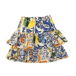 Dolce & Gabbana Sicily Lemon Print Tiered Skirt
