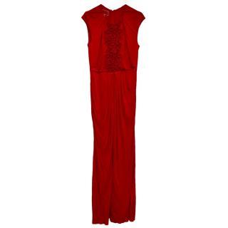 Giambattista Valli Red Embroidered Sleeveless Gown
