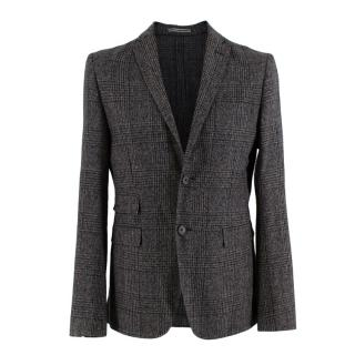 J. Lindeberg Grey Checkered Wool Single Breasted Blazer