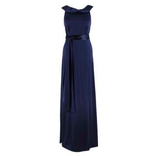 Gianfranco Ferre Silk Satin Blue High Neck Gown