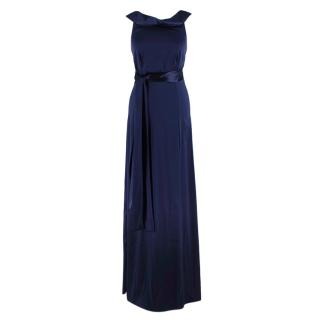 Gianfranco Ferre Silk Satin Blue High Neck Gown