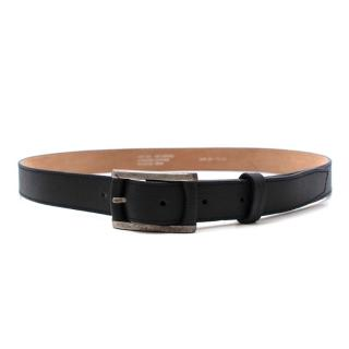 J. Lindeberg Black Leather Belt with Silver Tone Distressed Buckle