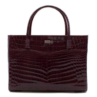 Zilli Purple Shiny Crocodile Grande Maroquinerie Bag