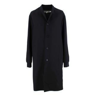 McQ Black Wool Bomber Style Longline Coat