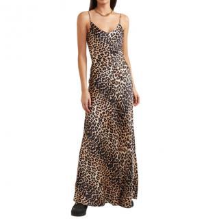 Ganni Leopard Print Maxi Slip Dress
