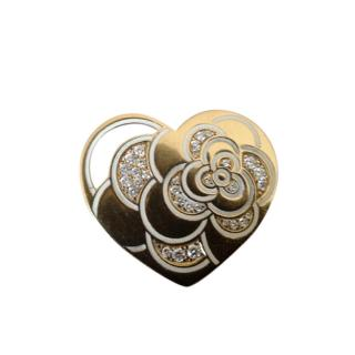 Chanel 18kt Yellow Gold Diamond Camellia Heart Pendant