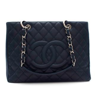 Chanel Navy Grained Leather Grand Shopping Tote