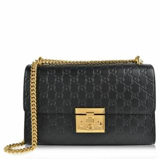 GUCCI Black Medium Padlock Signature Shoulder Bag