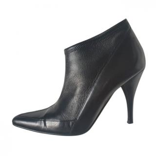 Gucci Black Leather Stretch Ankle Boots