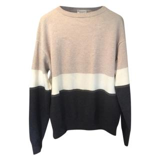 Brunello Cucinelli Cashmere Striped Crewneck Jumper