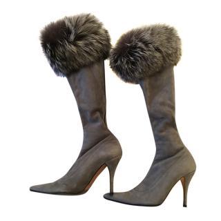 Joseph Azagury Grey Fur Trimmed Stretch Suede Boots