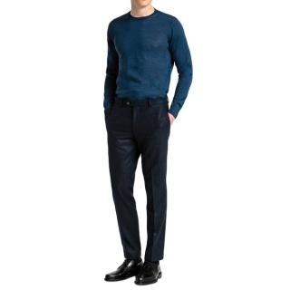 Oscar Jacobson navy wool dean tapered trousers