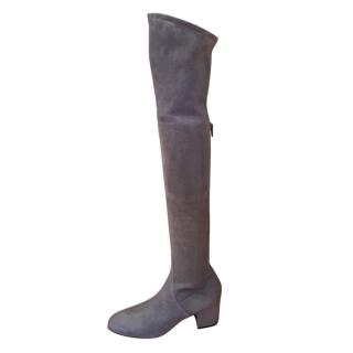 Valentino Grey Stretch Suede OTK Boots