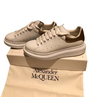 Alexander McQueen White/Gold Chunky Sneakers
