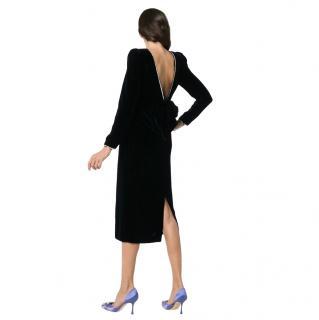 Gucci Black Velvet Crystal Embellished Bow Back Dress