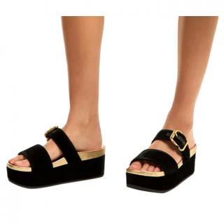 Prada Black & Gold Velvet Flatform Sandals