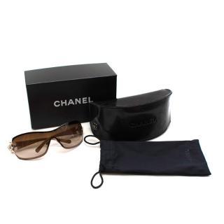 Chanel Vintage Cream Shield Oversize Sunglasses