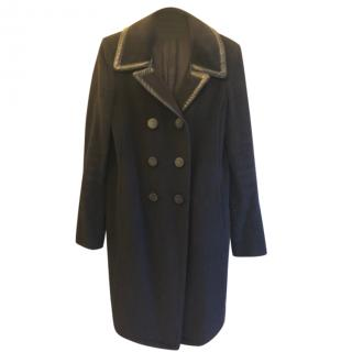 Balenciaga Black Wool Double Breasted Coat