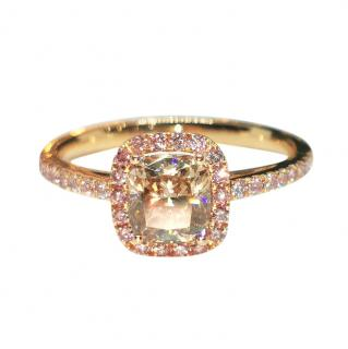 William & Son Fancy Champagne & Pink Diamond Ring in 18ct Rose Gold