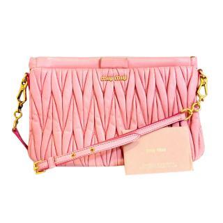 Miu Miu pink Matelasse Crossbody Bag