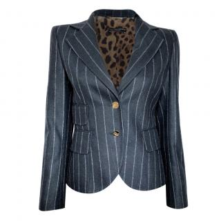 Dolce & Gabbana Blue Pinstripe Tailored Jacket