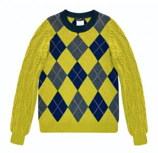Chanel Lime Green Fairisle Knit Paris/Edinburgh Collection Jumper