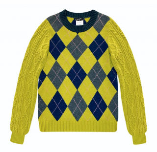 Chanel Lime Green Fairisle Knit Paris/Edinburgh Collection Jumper