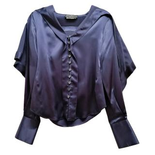 Salvatore Ferragamo Blue Shawl Collar Silk Shirt