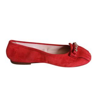 REDValentino Red Suede Fringed Ballerinas