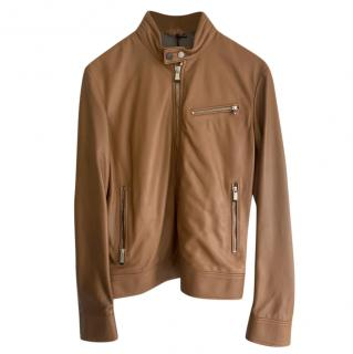 Aston Martin by Hackett Tan Leather Jacket