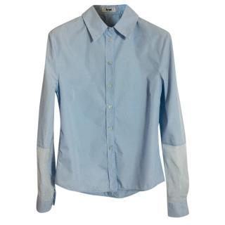 Acne Lou Blue Two-Tone Cotton Shirt