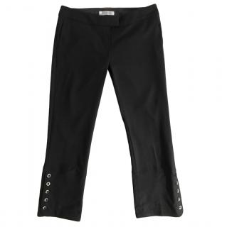 Sportmax Black Virgin Wool Ankle Crop Pants