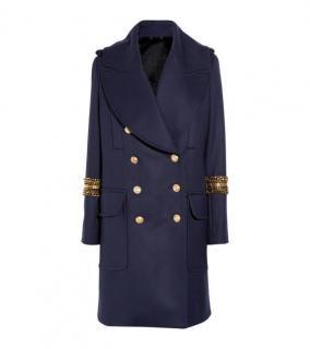 Alexander McQueen Navy Rabbit-lined wool coat