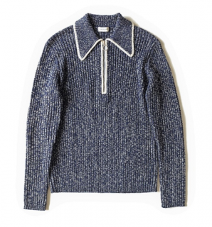 Dries Van Noten Blue Melange Wool Knit Jumper