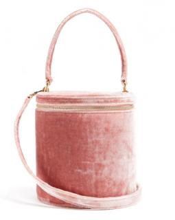 Staud Pink Vitti crushed-velvet bucket bag