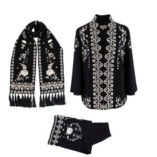 Temperley Black & White Embroidered Tunic, Scarf & Pants