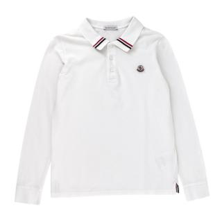 Moncler Logo White Long Sleeve Polo Shirt