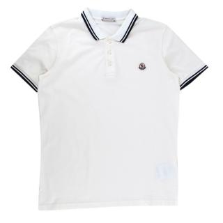 Moncler Logo White Short Sleeve Polo Shirt