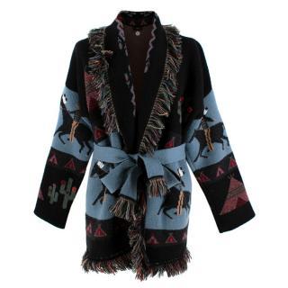 Alanui Multi-Coloured Cashmere Abstract Jacquard Cardigan