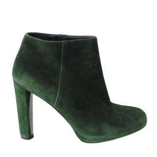 Stuart Weitzman Green Suede Ankle Boots