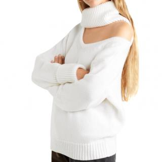Monse Ivory Wool Knit Cut-out High Neck Sweater