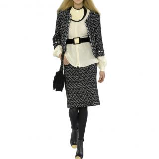 Chanel Black & Silver Tweed Runway Cropped Jacket