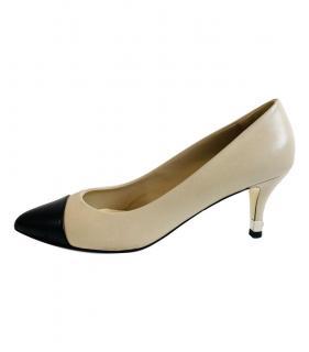 Chanel Two-Tone Leather Kitten Heel Pumps