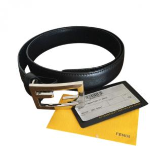 Fendi Black Leather FF Buckle Belt