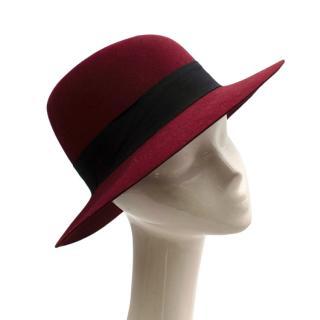 Maison Michel Paris Wool Felt Hat Bordeaux